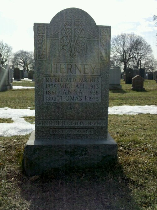 Tierney grave at Second Calvary Cemetery